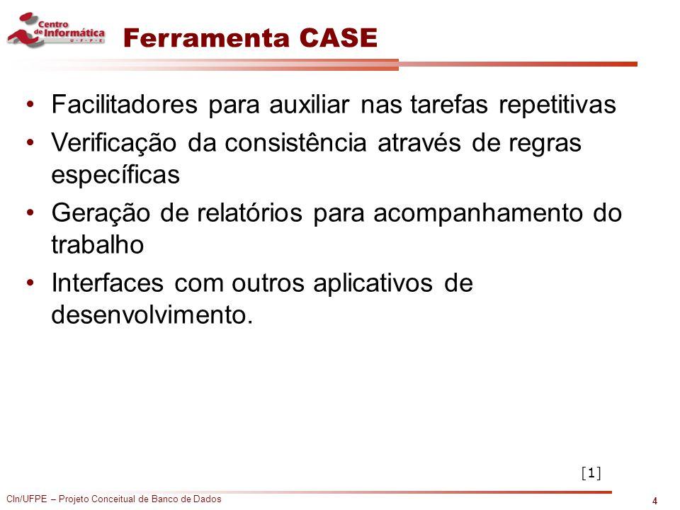 CIn/UFPE – Projeto Conceitual de Banco de Dados Ferramenta CASE Facilitadores para auxiliar nas tarefas repetitivas Verificação da consistência atravé