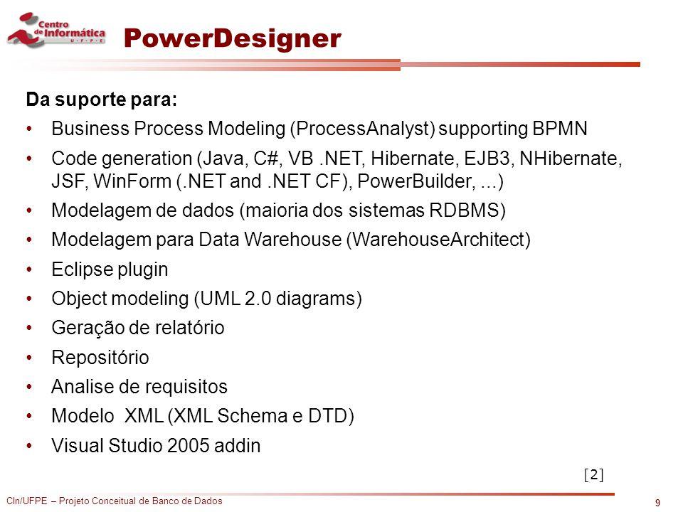 CIn/UFPE – Projeto Conceitual de Banco de Dados PowerDesigner Da suporte para: Business Process Modeling (ProcessAnalyst) supporting BPMN Code generat