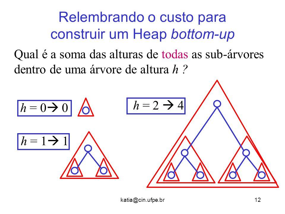 katia@cin.ufpe.br12 Relembrando o custo para construir um Heap bottom-up Qual é a soma das alturas de todas as sub-árvores dentro de uma árvore de alt
