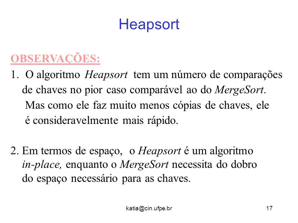 katia@cin.ufpe.br17 Heapsort OBSERVAÇÕES: 1.O algoritmo Heapsort tem um número de comparações de chaves no pior caso comparável ao do MergeSort. Mas c