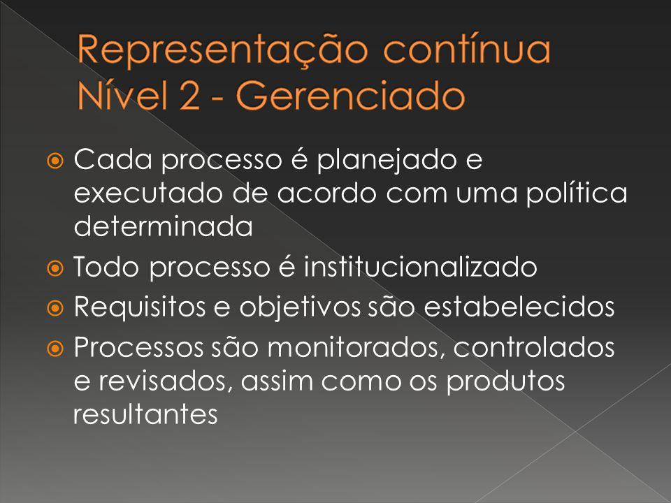  Cada processo é planejado e executado de acordo com uma política determinada  Todo processo é institucionalizado  Requisitos e objetivos são estab