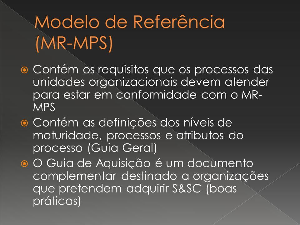  Contém os requisitos que os processos das unidades organizacionais devem atender para estar em conformidade com o MR- MPS  Contém as definições dos