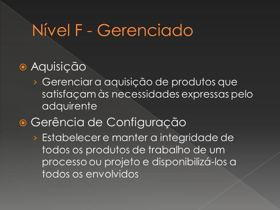  Aquisição › Gerenciar a aquisição de produtos que satisfaçam às necessidades expressas pelo adquirente  Gerência de Configuração › Estabelecer e ma