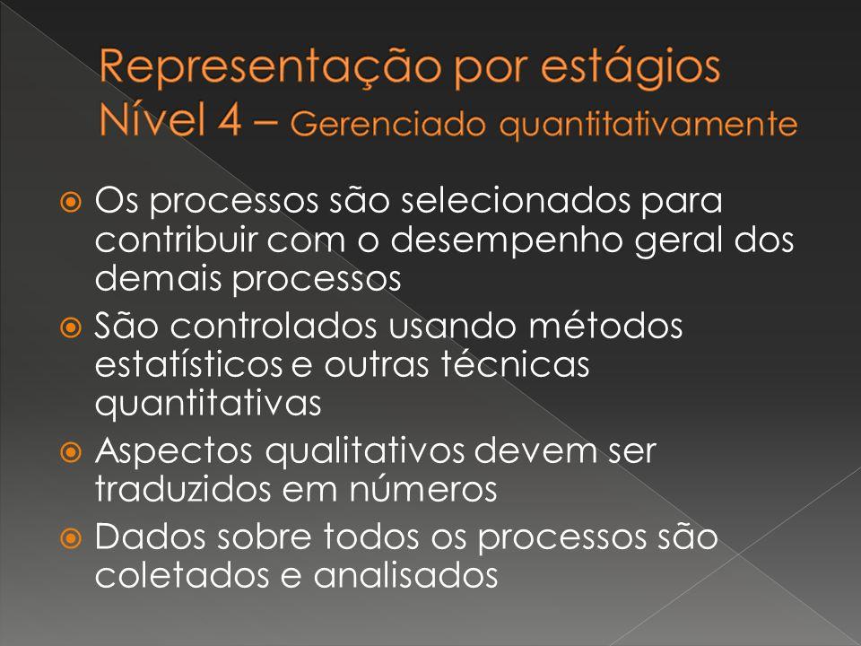  Os processos são selecionados para contribuir com o desempenho geral dos demais processos  São controlados usando métodos estatísticos e outras téc