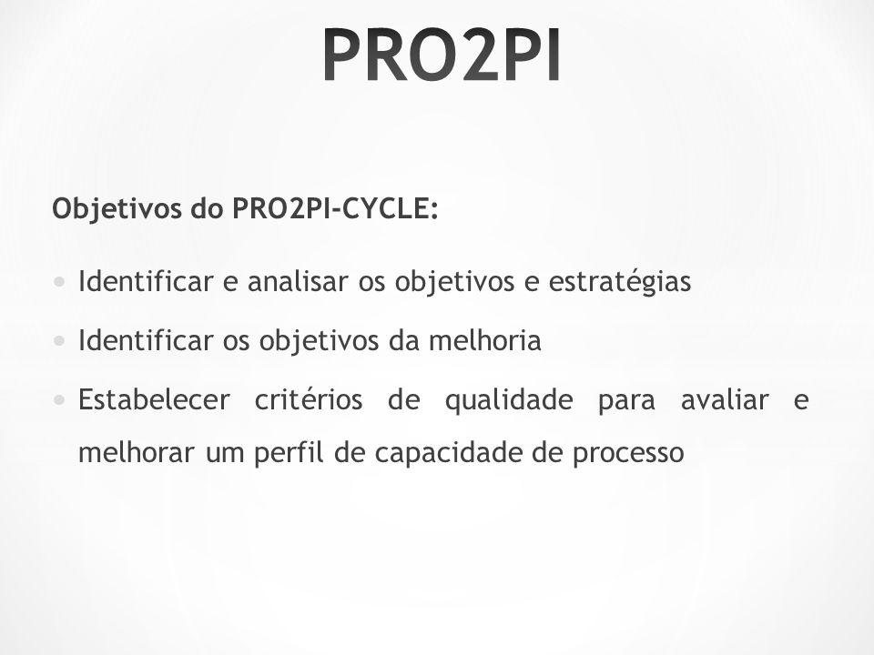 Objetivos do PRO2PI-CYCLE: Identificar e analisar os objetivos e estratégias Identificar os objetivos da melhoria Estabelecer critérios de qualidade para avaliar e melhorar um perfil de capacidade de processo