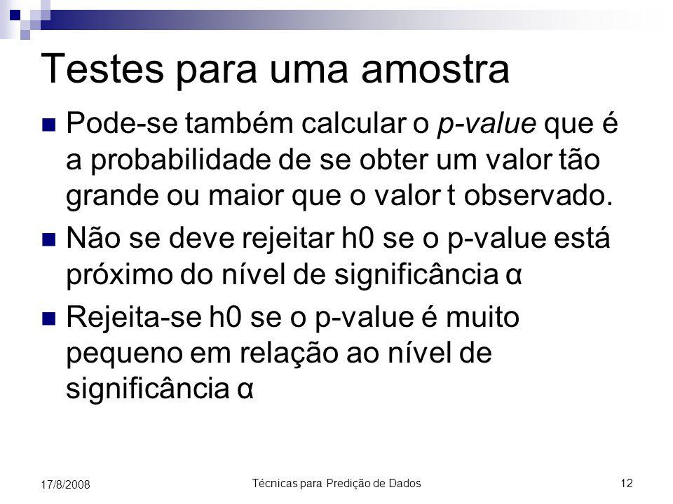 Técnicas para Predição de Dados12 17/8/2008 Testes para uma amostra Pode-se também calcular o p-value que é a probabilidade de se obter um valor tão grande ou maior que o valor t observado.