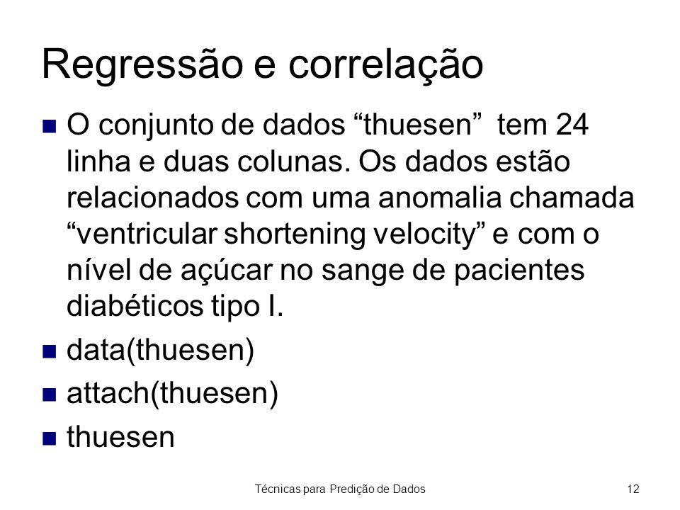 """Técnicas para Predição de Dados12 Regressão e correlação O conjunto de dados """"thuesen"""" tem 24 linha e duas colunas. Os dados estão relacionados com um"""