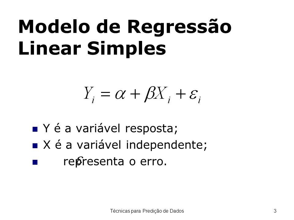 Técnicas para Predição de Dados3 Modelo de Regressão Linear Simples Y é a variável resposta; X é a variável independente; representa o erro.