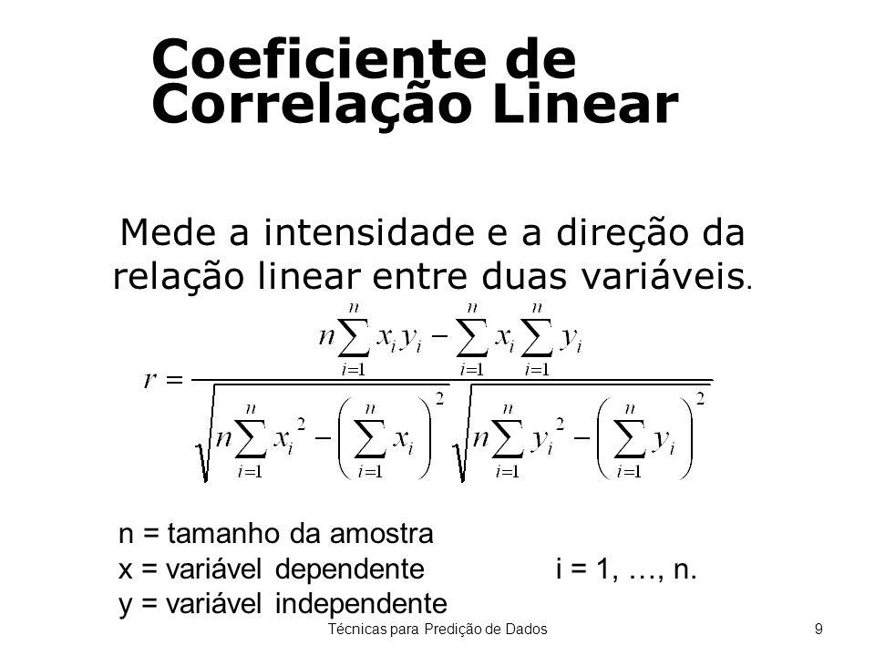 Técnicas para Predição de Dados9 Coeficiente de Correlação Linear Mede a intensidade e a direção da relação linear entre duas variáveis. n = tamanho d