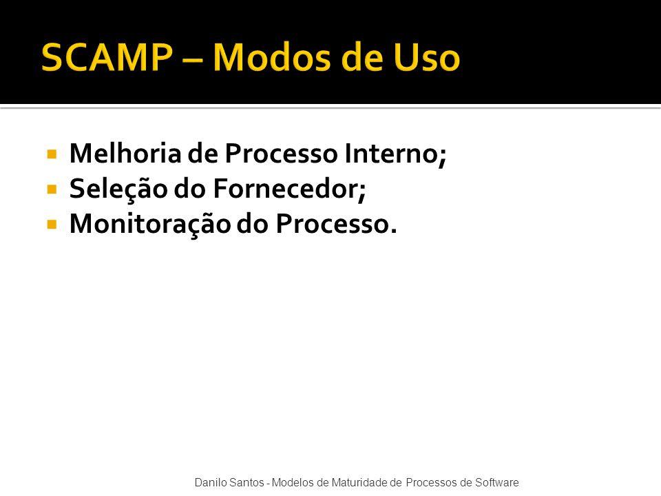  Melhoria de Processo Interno;  Seleção do Fornecedor;  Monitoração do Processo. Danilo Santos - Modelos de Maturidade de Processos de Software