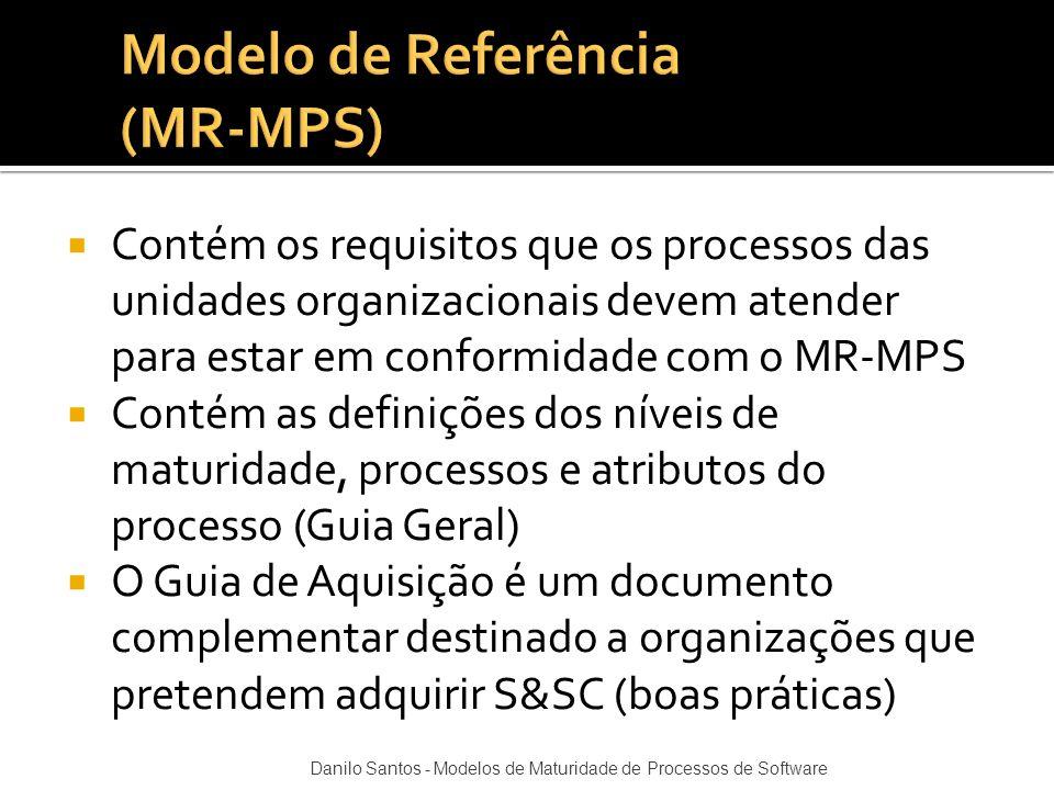  Contém os requisitos que os processos das unidades organizacionais devem atender para estar em conformidade com o MR-MPS  Contém as definições dos