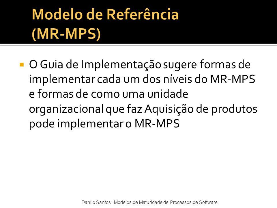  O Guia de Implementação sugere formas de implementar cada um dos níveis do MR-MPS e formas de como uma unidade organizacional que faz Aquisição de p