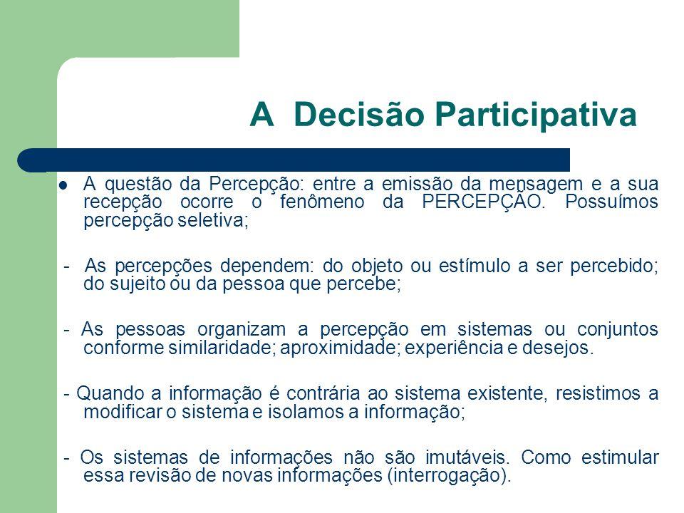 A Decisão Participativa A questão da Percepção: entre a emissão da mensagem e a sua recepção ocorre o fenômeno da PERCEPÇÃO. Possuímos percepção selet