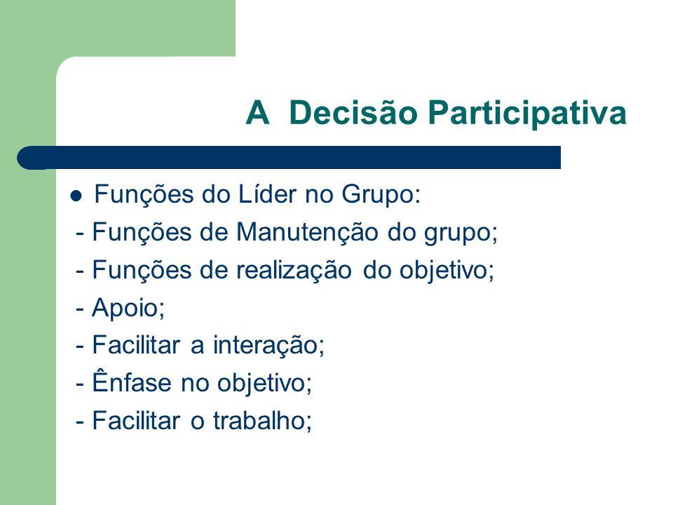 A Decisão Participativa Funções do Líder no Grupo: - Funções de Manutenção do grupo; - Funções de realização do objetivo; - Apoio; - Facilitar a interação; - Ênfase no objetivo; - Facilitar o trabalho;