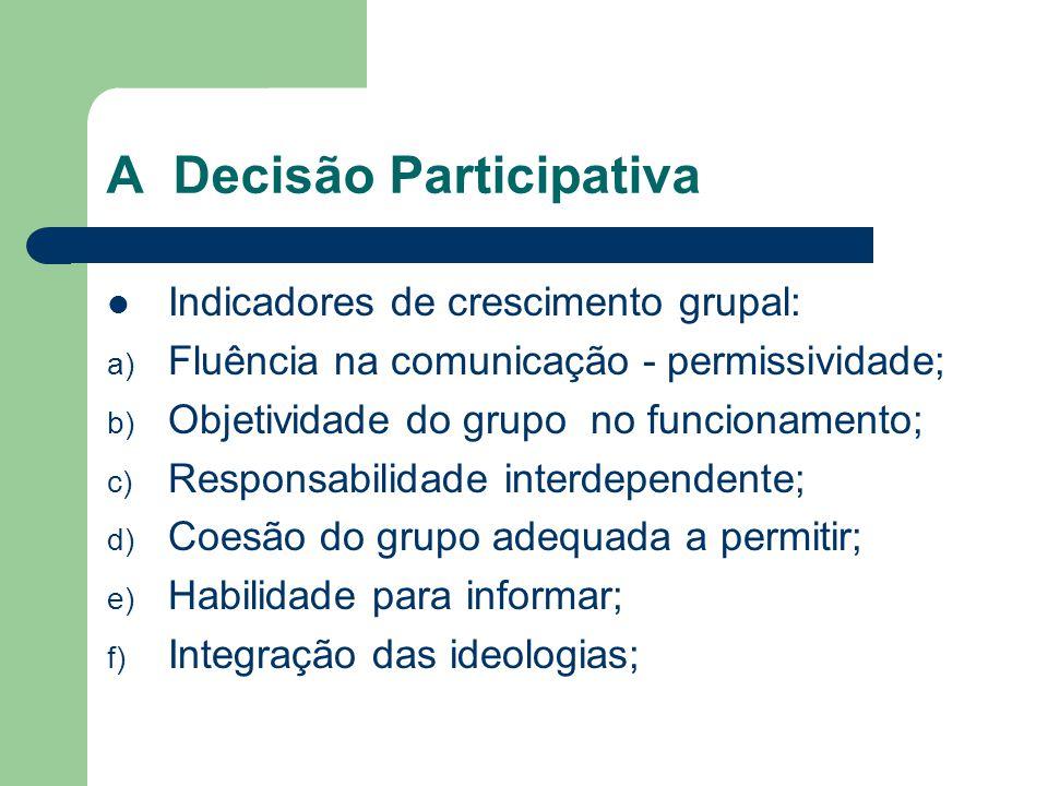 A Decisão Participativa Indicadores de crescimento grupal: a) Fluência na comunicação - permissividade; b) Objetividade do grupo no funcionamento; c) Responsabilidade interdependente; d) Coesão do grupo adequada a permitir; e) Habilidade para informar; f) Integração das ideologias;