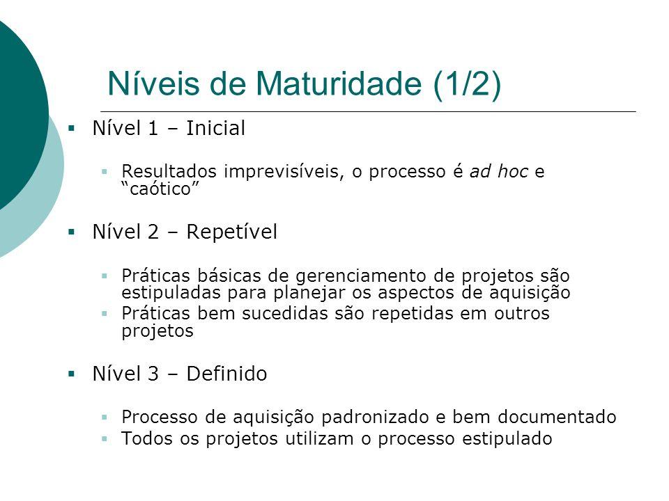 """Níveis de Maturidade (1/2)  Nível 1 – Inicial  Resultados imprevisíveis, o processo é ad hoc e """"caótico""""  Nível 2 – Repetível  Práticas básicas de"""