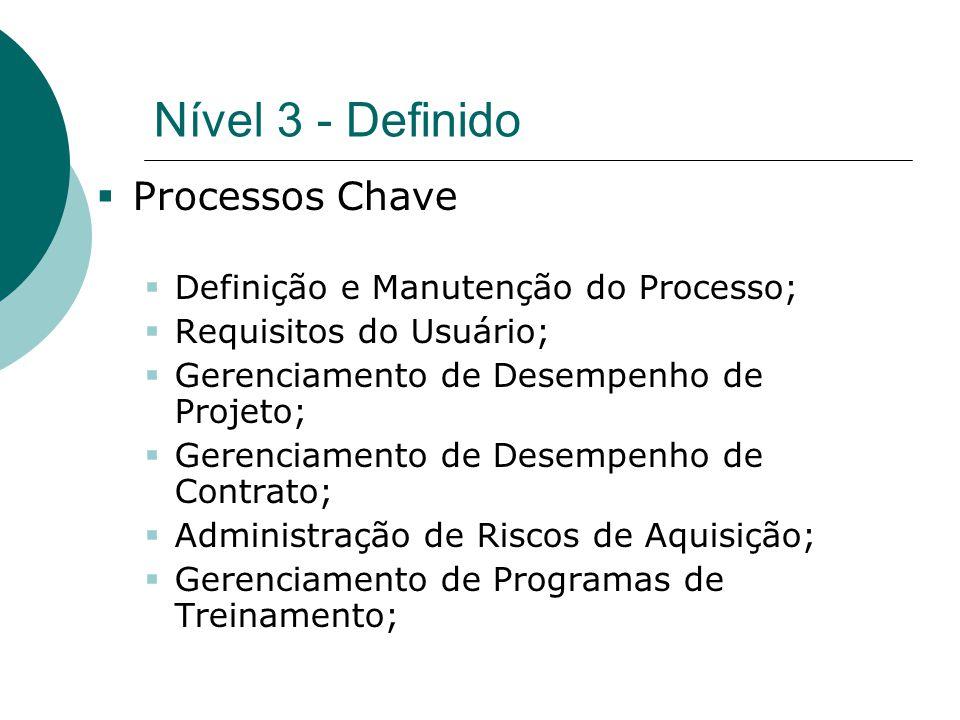 Nível 3 - Definido  Processos Chave  Definição e Manutenção do Processo;  Requisitos do Usuário;  Gerenciamento de Desempenho de Projeto;  Gerenc