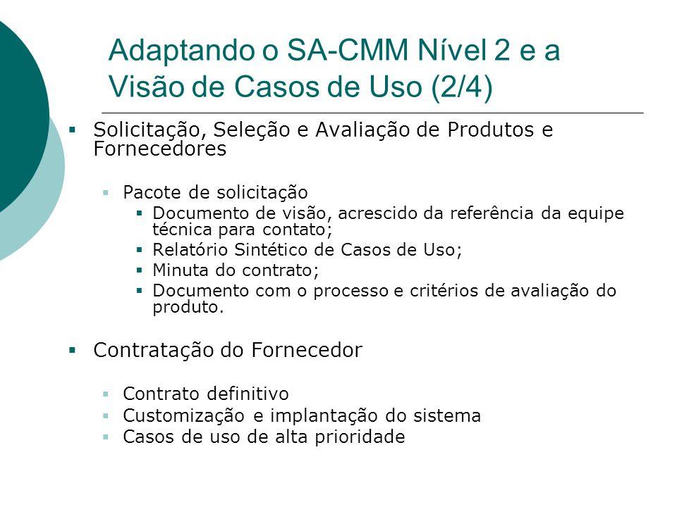 Adaptando o SA-CMM Nível 2 e a Visão de Casos de Uso (2/4)  Solicitação, Seleção e Avaliação de Produtos e Fornecedores  Pacote de solicitação  Doc