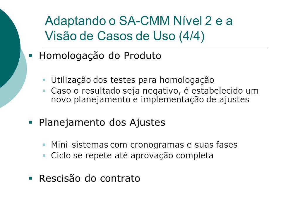 Adaptando o SA-CMM Nível 2 e a Visão de Casos de Uso (4/4)  Homologação do Produto  Utilização dos testes para homologação  Caso o resultado seja n