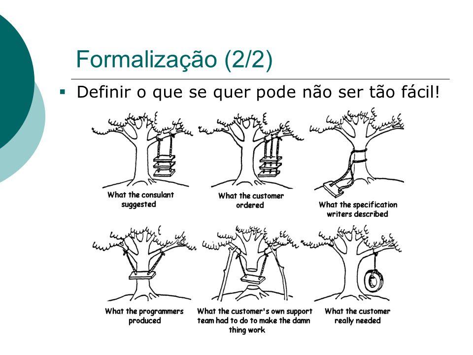 Formalização (2/2)  Definir o que se quer pode não ser tão fácil.