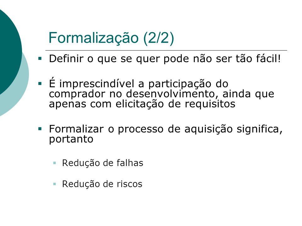 Formalização (2/2)  Definir o que se quer pode não ser tão fácil!  É imprescindível a participação do comprador no desenvolvimento, ainda que apenas
