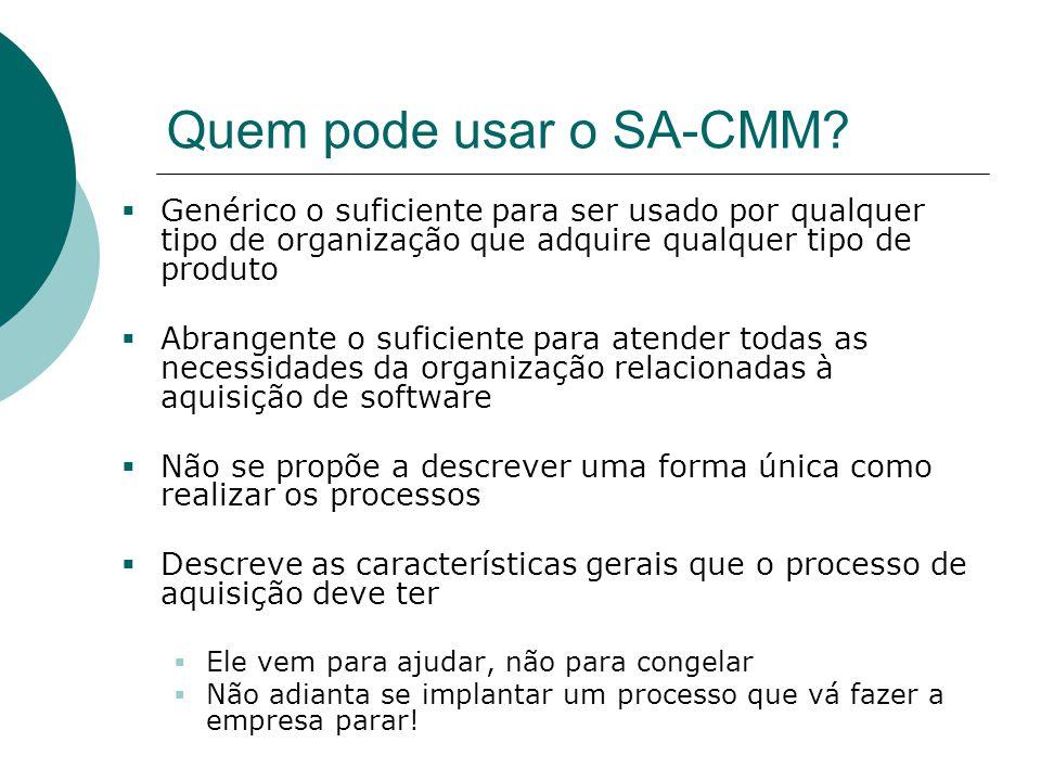 Quem pode usar o SA-CMM?  Genérico o suficiente para ser usado por qualquer tipo de organização que adquire qualquer tipo de produto  Abrangente o s