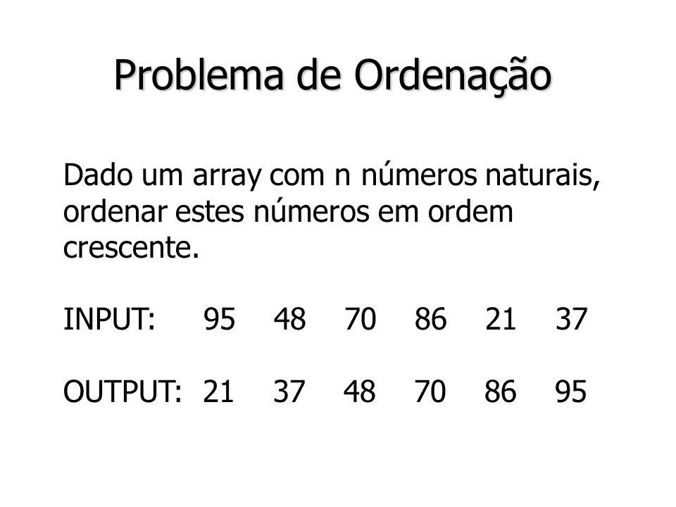 2 Problema de Ordenação Dado um array com n números naturais, ordenar estes números em ordem crescente. INPUT: 95 48 70 86 21 37 OUTPUT: 21 37 48 70 8