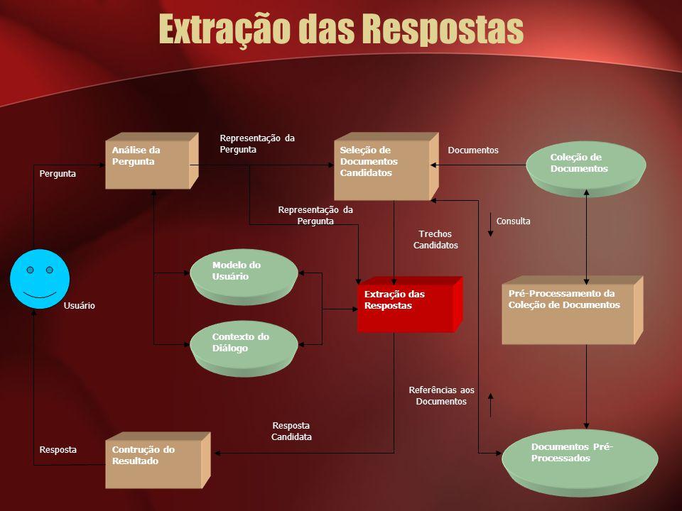 Extração das Respostas Usuário Documentos Referências aos Documentos Consulta Trechos Candidatos Representação da Pergunta Resposta Pergunta Análise d