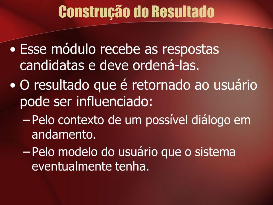 Construção do Resultado Esse módulo recebe as respostas candidatas e deve ordená-las.