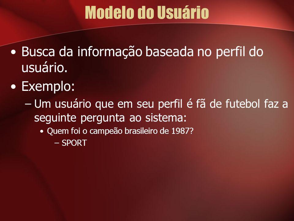 Modelo do Usuário Busca da informação baseada no perfil do usuário. Exemplo: –Um usuário que em seu perfil é fã de futebol faz a seguinte pergunta ao