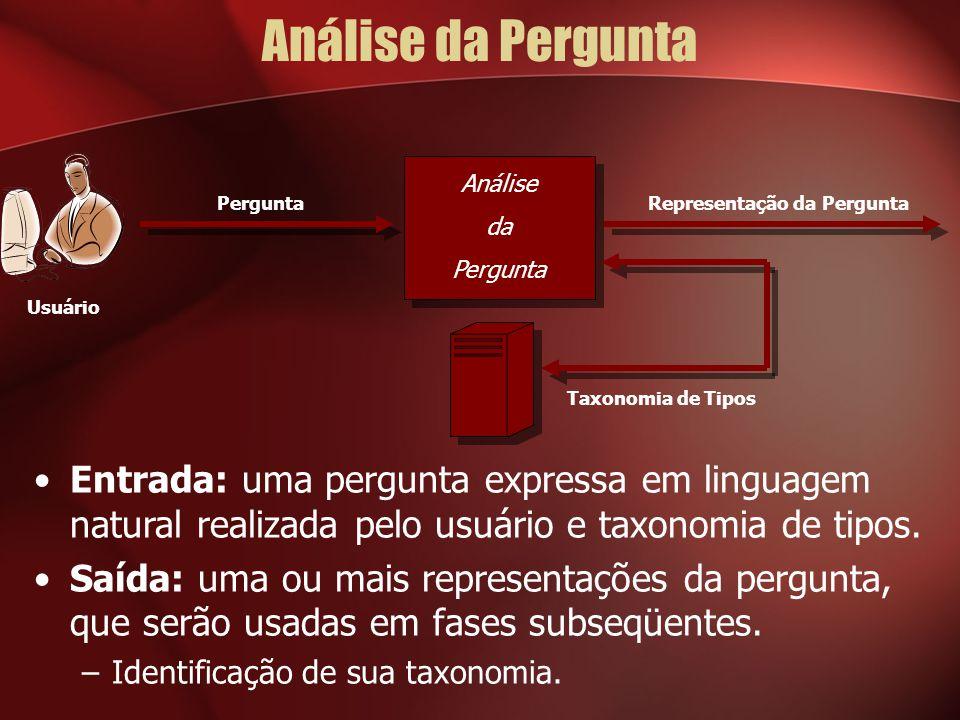Análise da Pergunta Análise da Pergunta Representação da Pergunta Usuário Entrada: uma pergunta expressa em linguagem natural realizada pelo usuário e taxonomia de tipos.