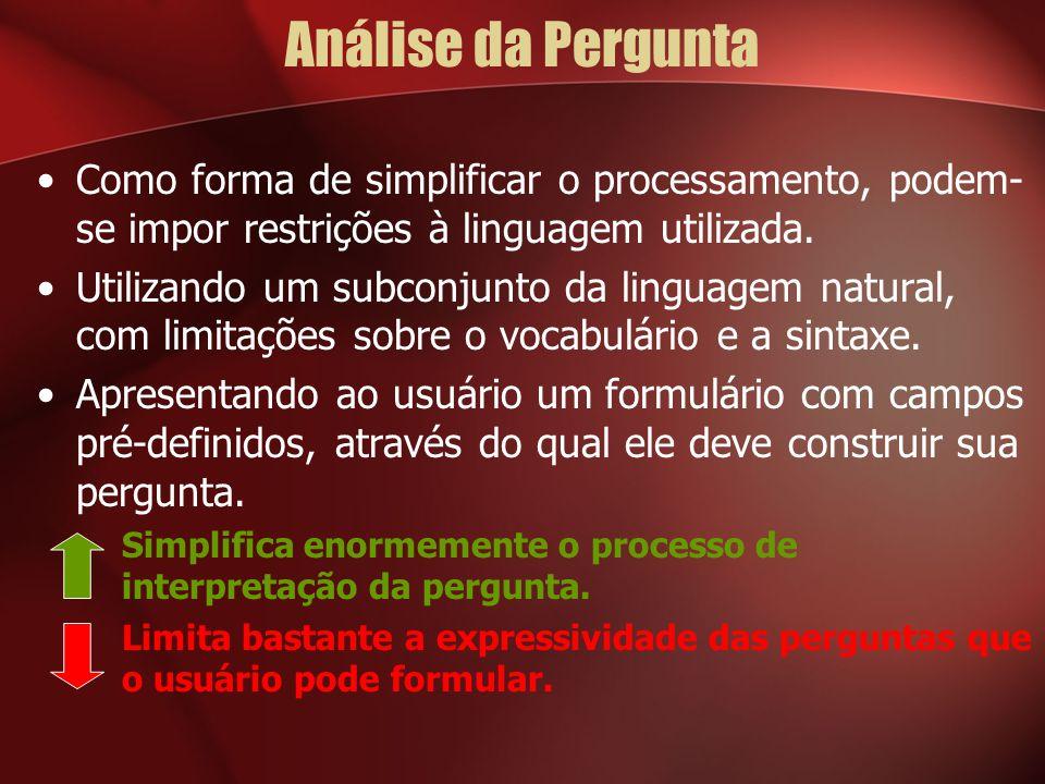Análise da Pergunta Como forma de simplificar o processamento, podem- se impor restrições à linguagem utilizada. Utilizando um subconjunto da linguage