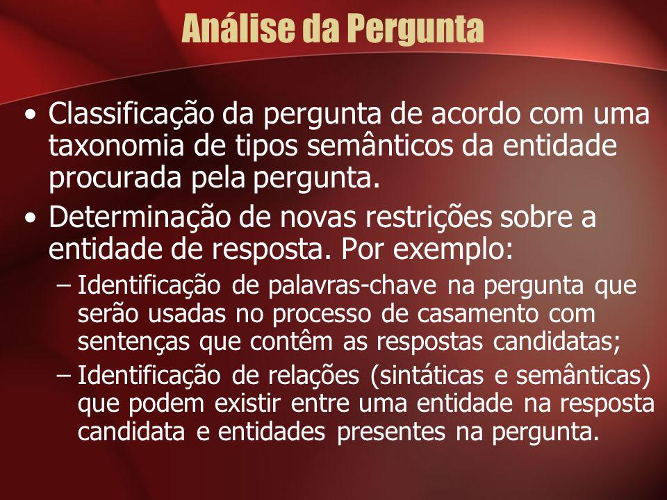 Análise da Pergunta Classificação da pergunta de acordo com uma taxonomia de tipos semânticos da entidade procurada pela pergunta.