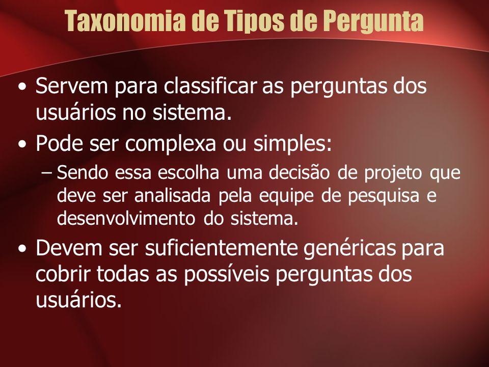 Taxonomia de Tipos de Pergunta Servem para classificar as perguntas dos usuários no sistema. Pode ser complexa ou simples: –Sendo essa escolha uma dec