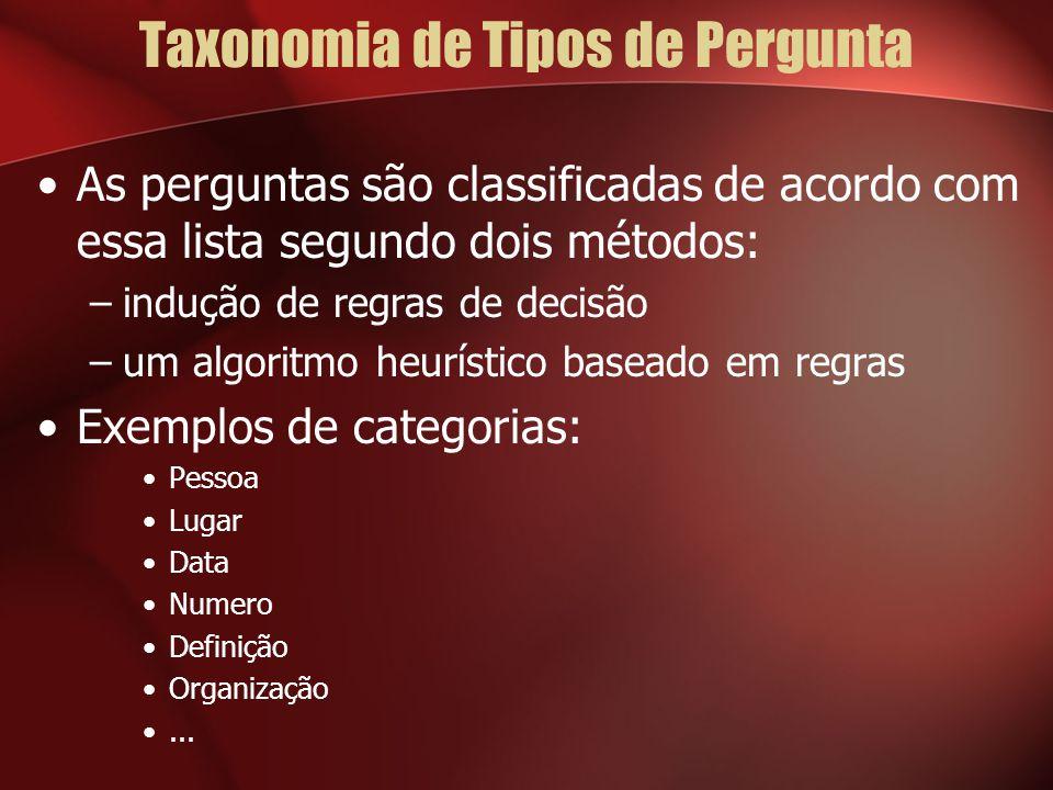Taxonomia de Tipos de Pergunta As perguntas são classificadas de acordo com essa lista segundo dois métodos: –indução de regras de decisão –um algoritmo heurístico baseado em regras Exemplos de categorias: Pessoa Lugar Data Numero Definição Organização...