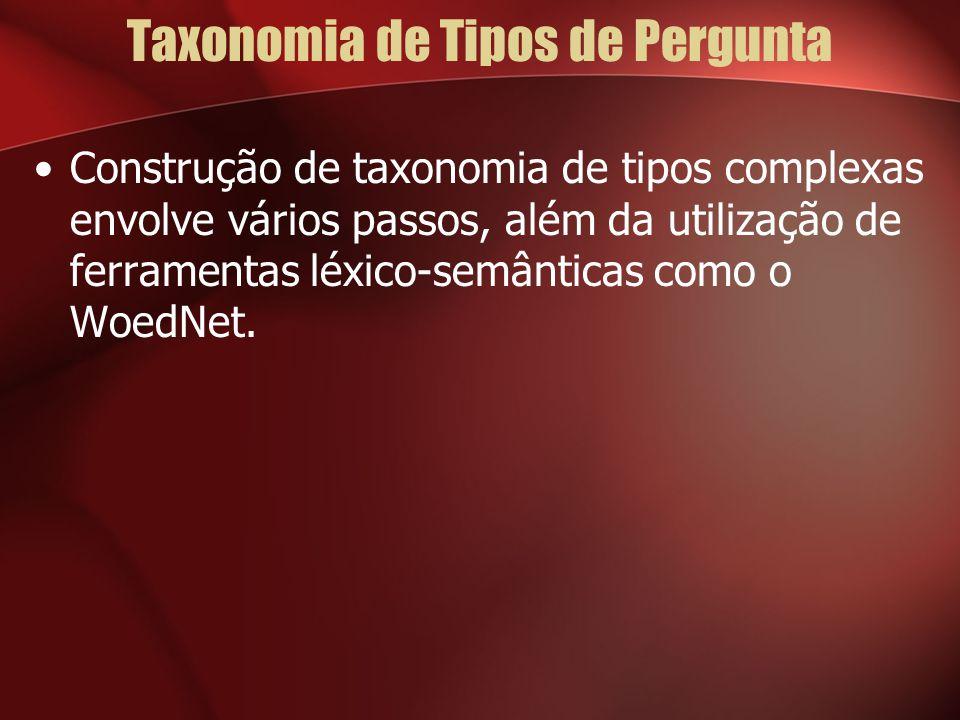 Taxonomia de Tipos de Pergunta Construção de taxonomia de tipos complexas envolve vários passos, além da utilização de ferramentas léxico-semânticas como o WoedNet.