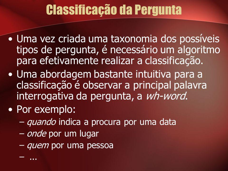 Classificação da Pergunta Uma vez criada uma taxonomia dos possíveis tipos de pergunta, é necessário um algoritmo para efetivamente realizar a classif