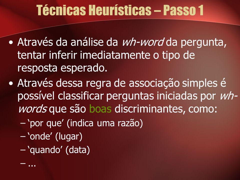 Técnicas Heurísticas – Passo 1 Através da análise da wh-word da pergunta, tentar inferir imediatamente o tipo de resposta esperado. Através dessa regr