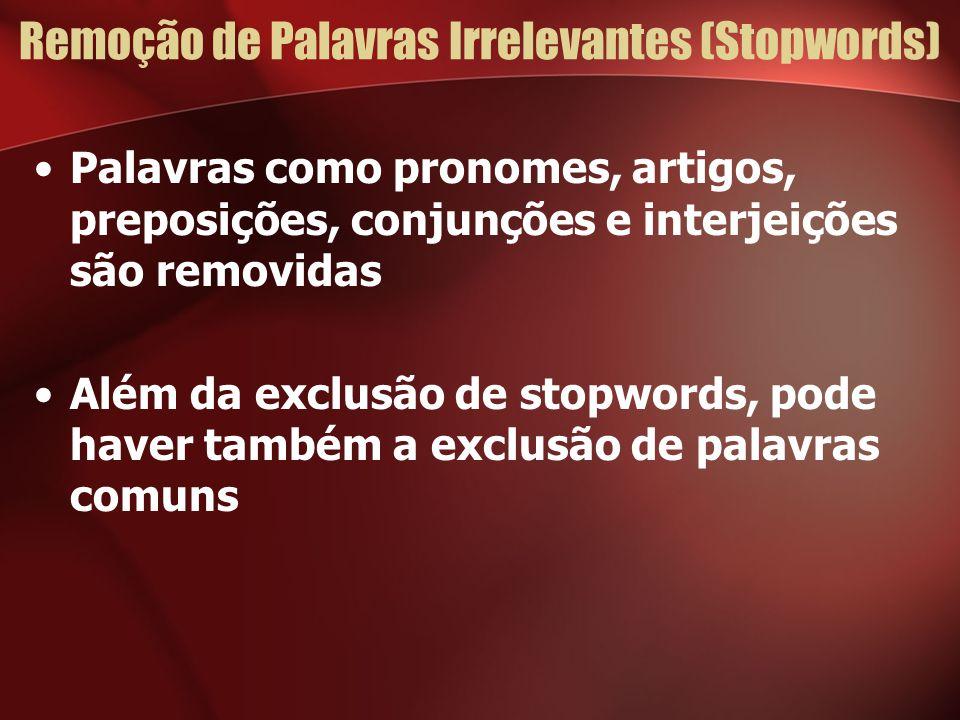 Remoção de Palavras Irrelevantes (Stopwords) Palavras como pronomes, artigos, preposições, conjunções e interjeições são removidas Além da exclusão de