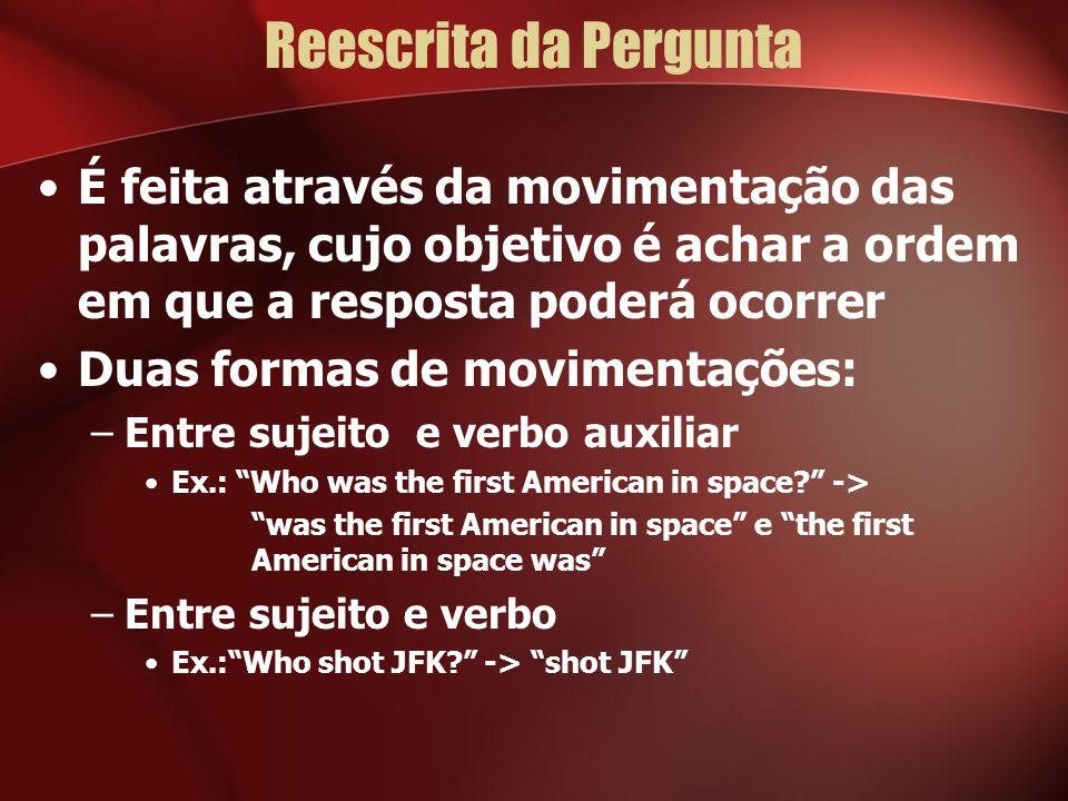 Reescrita da Pergunta É feita através da movimentação das palavras, cujo objetivo é achar a ordem em que a resposta poderá ocorrer Duas formas de movi