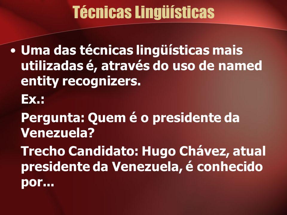 Técnicas Lingüísticas Uma das técnicas lingüísticas mais utilizadas é, através do uso de named entity recognizers. Ex.: Pergunta: Quem é o presidente