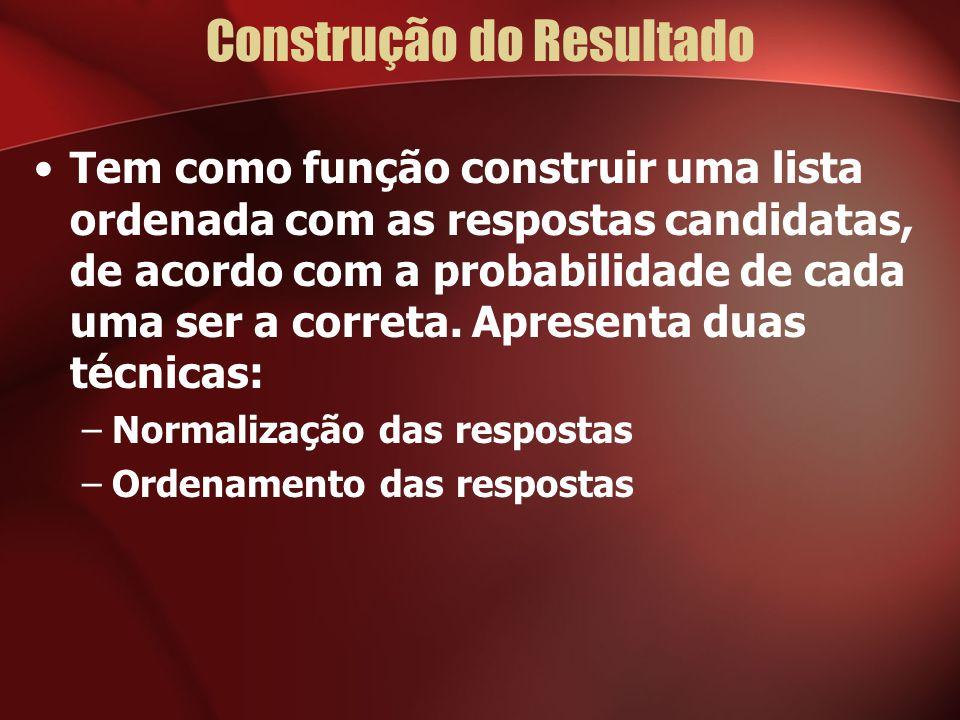 Construção do Resultado Tem como função construir uma lista ordenada com as respostas candidatas, de acordo com a probabilidade de cada uma ser a correta.
