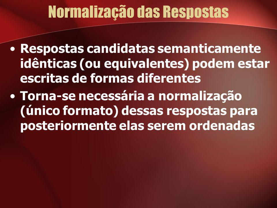 Normalização das Respostas Respostas candidatas semanticamente idênticas (ou equivalentes) podem estar escritas de formas diferentes Torna-se necessária a normalização (único formato) dessas respostas para posteriormente elas serem ordenadas
