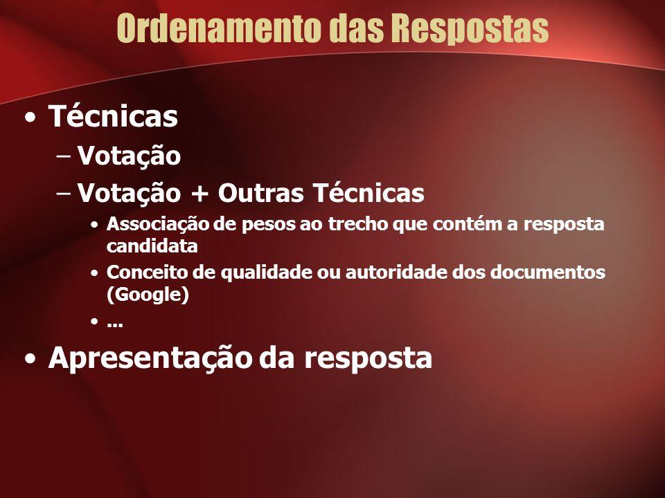 Ordenamento das Respostas Técnicas –Votação –Votação + Outras Técnicas Associação de pesos ao trecho que contém a resposta candidata Conceito de qualidade ou autoridade dos documentos (Google)...