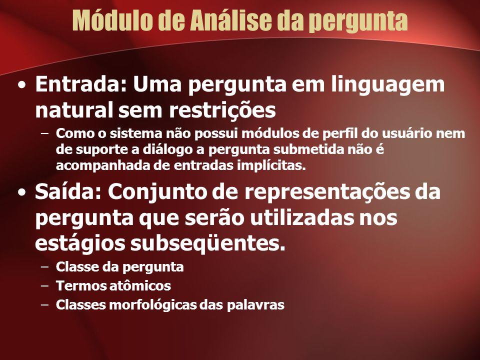 Módulo de Análise da pergunta Entrada: Uma pergunta em linguagem natural sem restrições –Como o sistema não possui módulos de perfil do usuário nem de