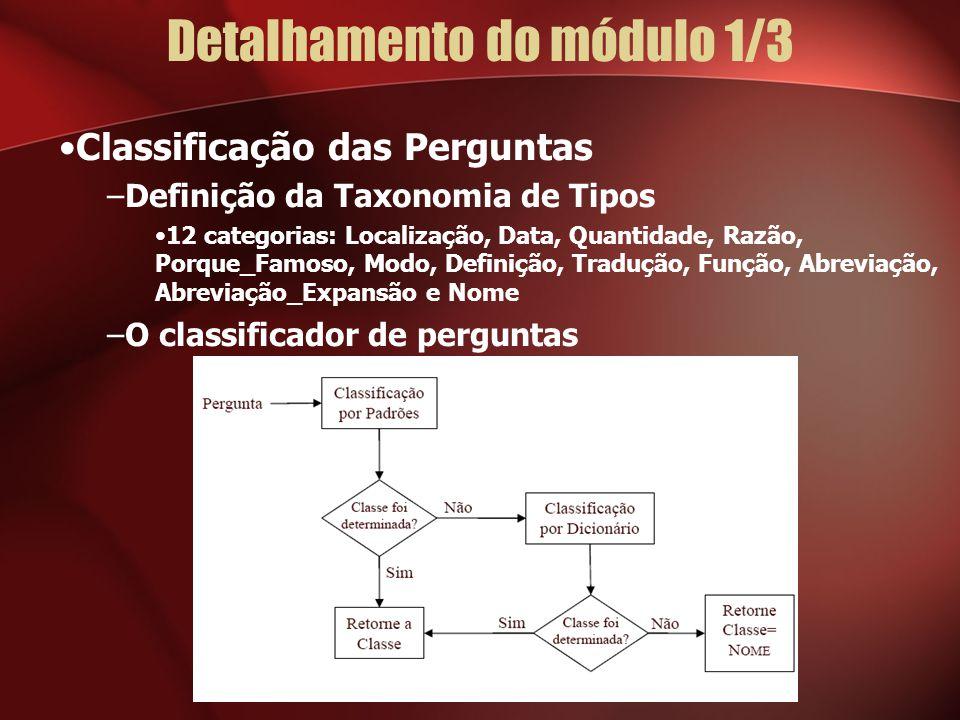 Detalhamento do módulo 1/3 Classificação das Perguntas –Definição da Taxonomia de Tipos 12 categorias: Localização, Data, Quantidade, Razão, Porque_Famoso, Modo, Definição, Tradução, Função, Abreviação, Abreviação_Expansão e Nome –O classificador de perguntas