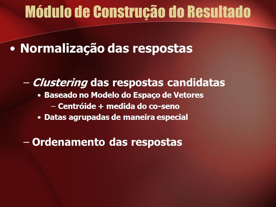 Normalização das respostas –Clustering das respostas candidatas Baseado no Modelo do Espaço de Vetores –Centróide + medida do co-seno Datas agrupadas de maneira especial –Ordenamento das respostas