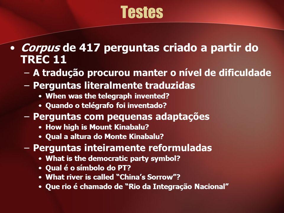 Testes Corpus de 417 perguntas criado a partir do TREC 11 –A tradução procurou manter o nível de dificuldade –Perguntas literalmente traduzidas When w