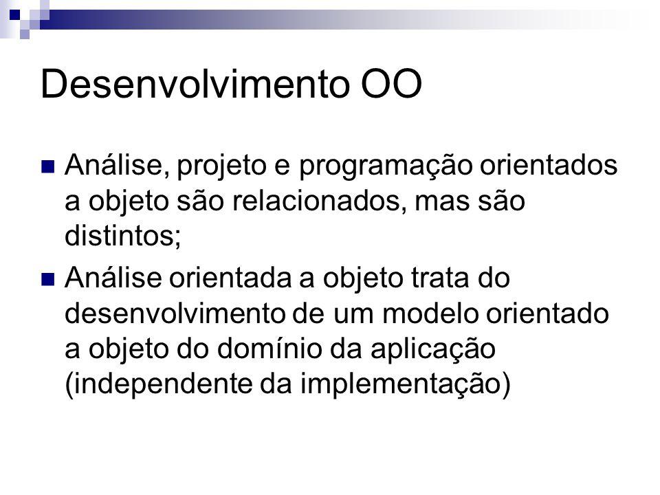 Desenvolvimento OO Análise, projeto e programação orientados a objeto são relacionados, mas são distintos; Análise orientada a objeto trata do desenvo