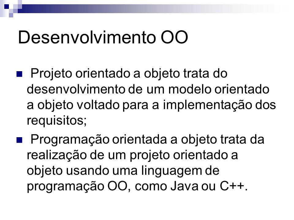 Desenvolvimento OO Projeto orientado a objeto trata do desenvolvimento de um modelo orientado a objeto voltado para a implementação dos requisitos; Pr